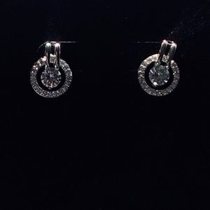 White Gold Plated Circular CZ Earrings